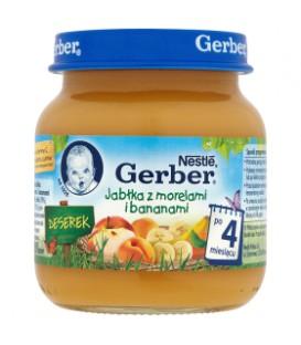 Gerber Deserek Jabłka z morelami i bananami po 4 miesiącu 125 g