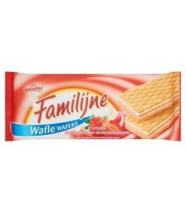 Familijne Wafle o smaku truskawkowo-śmietankowym 8x180g