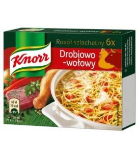 Knorr Rosół szlachetny drobiowo-wołowy 60 g (6 kostek)