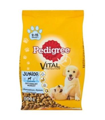 Pedigree Vital Protection Junior z kurczakiem i ryżem Średnie rasy Karma pełnoporcjowa 500 g