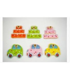 Drewniana dekoracja pod świeczkę samochodzik/tort