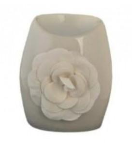 Kominek na olejek zapachowy biały z różą 6x7xh11cm