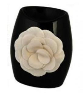 Kominek na olejek zapachowy czarny z różą6x7xh11cm