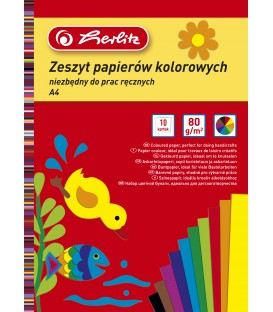 ZESZYT PAPIER KOLOROWY A4 10 KARTEK
