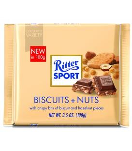 Ritter Sport czekolada mleczna z ciętymi orzechami laskowymi i kawałkami ciastek 100g