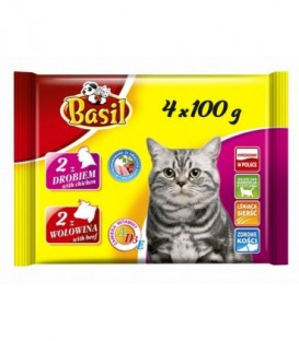 Basil saszetka dla kota drób,wołowina 4x100g