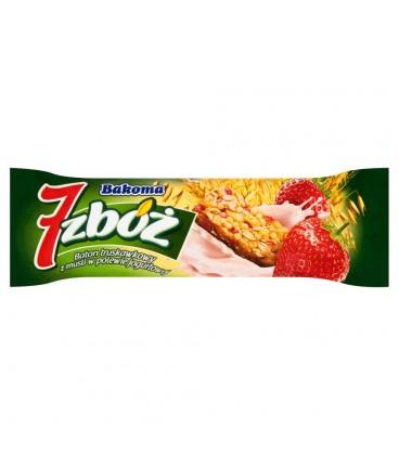 Bakoma 7 zbóż Baton truskawkowy z musli w polewie jogurtowej 30 g