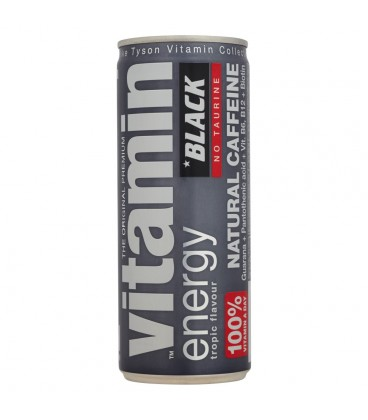 Black Vitamin Energy Natural Caffeine Gazowany napój energetyzujący 250 ml
