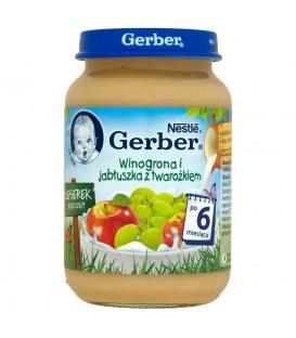 Gerber Deserek Mleczny Winogrona i jabłuszka z twarożkiem po 6 miesiącu 190 g