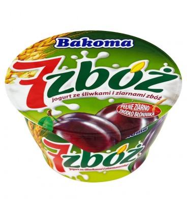 Bakoma 7 zbóż Jogurt ze śliwkami i ziarnami zbóż 150 g