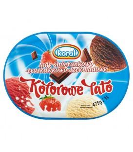 Koral Kolorowe Lato Lody śmietankowo-truskawkowo-czekoladowe 1 l