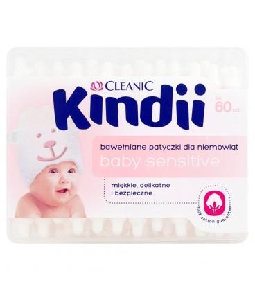 Cleanic Kindii Baby Sensitive Bawełniane patyczki dla niemowląt 60 sztuk