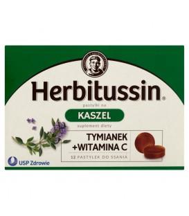 Herbitussin Tymianek + witamina C Pastylki na kaszel Suplement diety 12 pastylek