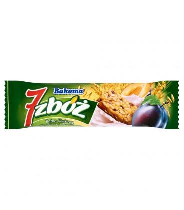 Bakoma 7 zbóż Baton śliwkowy z musli podlany polewą jogurtową 30 g