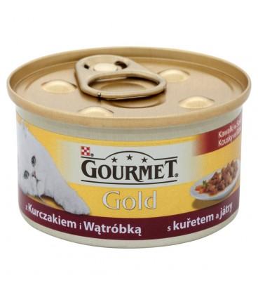 Gourmet Gold Kawałki w sosie z kurczakiem i wątróbką Pełnoporcjowa karma dla dorosłych kotów 85 g
