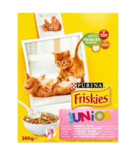 Friskies Junior z kurczakiem mlekiem i dodatkiem warzyw Pełnoporcjowa karma dla kotów 300 g