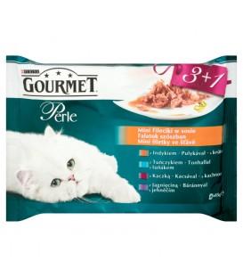 Gourmet Perle Mini Fileciki w sosie Pełnoporcjowa karma dla dorosłych kotów 4 x 85 g