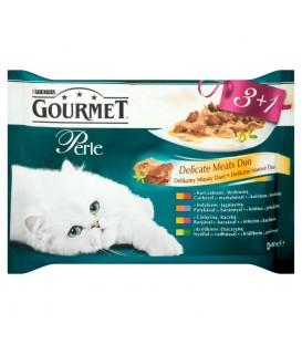 Gourmet Perle Delikatny Mięsny Duet Pełnoporcjowa karma dla dorosłych kotów 4 x 85 g