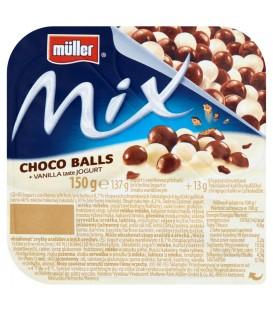 Müller Mix Jogurt o smaku waniliowym z kulkami ryżowymi w mlecznej i białej czekoladzie 150 g