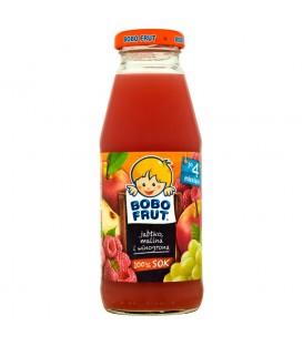 Bobo Frut 100% Sok jabłko malina i winogrona po 4 miesiącu 300 ml