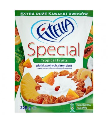 Fitella Special Płatki z pełnych ziaren zbóż z papają ananasem bananem kokosem i rodzynkami 225 g