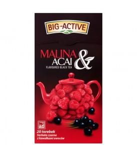 Big-Active Malina & Acai Herbata czarna z kawałkami owoców 40 g (20 torebek)