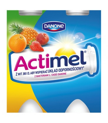 Danone Actimel Wieloowocowy Mleko Fermentowane 400 g (4 sztuki)