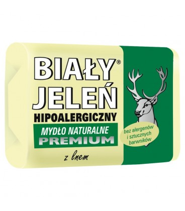 Biały Jeleń Hipoalergiczne mydło naturalne premium z lnem 100 g