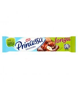 Princessa longa orzechowa Wafel przekładany kremem orzechowym oblany mleczną czekoladą 45 g