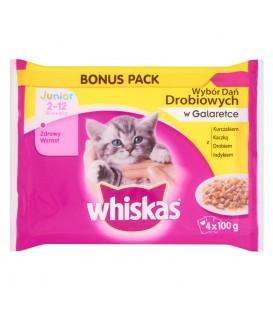 Whiskas Junior Wybór dań mięsnych w galaretce Karma pełnoporcjowa 2-12 miesięcy 400 g (4 saszetki)