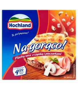 Hochland Na gorąco! Plastry sera z szynką i pieczarkami 144 g
