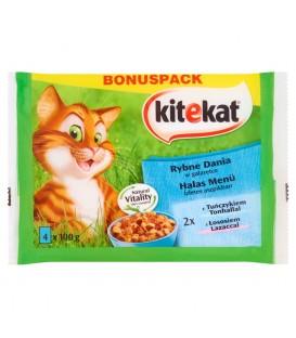 Kitekat Rybne Dania w galaretce Karma dla dorosłych kotów 400 g (4 sztuki)