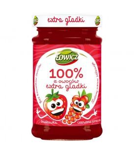 Łowicz 100% z owoców Extra gładki truskawka czerwona porzeczka 235 g