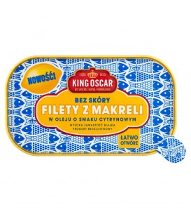 King Oscar Filety z makreli w oleju o smaku cytrynowym 110 g
