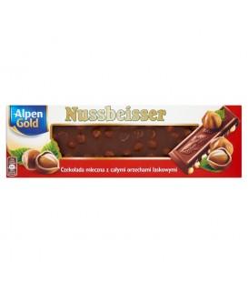 Alpen Gold Nussbeisser Czekolada mleczna z całymi orzechami laskowymi 220 g