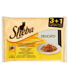 Sheba Delicato Delikatne drobiowe dania w galaretce Karma pełnoporcjowa 4 x 85 g