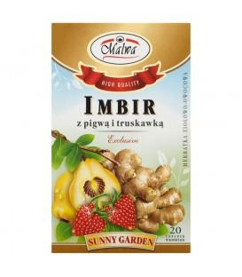 Malwa Sunny Garden Exclusive Imbir z pigwą i truskawką Herbatka ziołowo-owocowa 40 g (20 torebek)