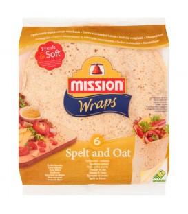 Mission Wraps Tortille z mąki pszennej orkiszowo-owsiane 370 g (6 sztuk)