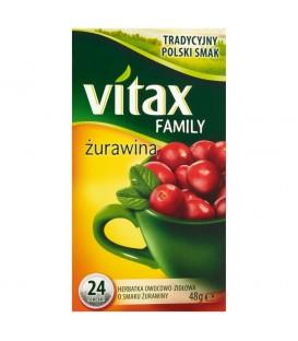 Vitax Family Herbatka owocowo-ziołowa o smaku żurawiny 48 g (24 torebki)
