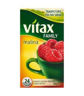 Vitax Family Herbatka ziołowo-owocowa o smaku maliny 48 g (24 torebki)