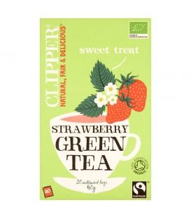Clipper Herbata zielona z truskawką organiczna 40 g (20 torebek)