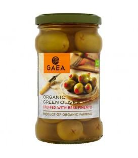 Gaea Organiczne zielone oliwki nadziewane papryką Pimento 295 g