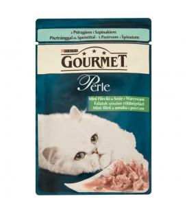 Gourmet Perle Mini fileciki w sosie z warzywami z pstrągiem i szpinakiem Karma dla kotów 85 g