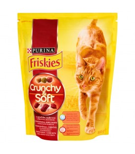 Friskies Crunchy & Soft z wołowiną kurczakiem i dodatkiem warzyw Pełnoporcjowa karma dla kotów 800 g