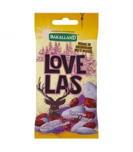 Bakalland Love Las Mieszanka żurawiny z sokiem z jagód i migdałów w białej czekoladzie 50 g