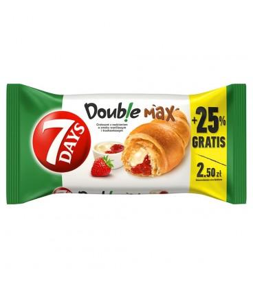 7 Days Doub!e Max Croissant z nadzieniem o smaku waniliowym i truskawkowym 110 g