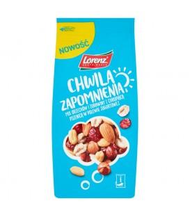 Lorenz Chwila zapomnienia Mix orzechów i żurawiny z chrupiąca pszenicą w polewie jogurtowej 140 g