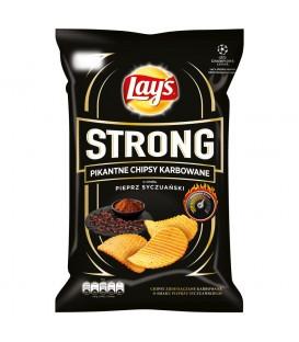 Lay's Strong Pikantne chipsy karbowane o smaku pieprz syczuański 140 g