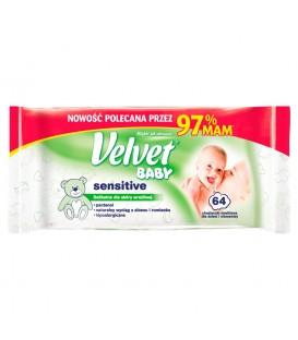 Velvet Baby Sensitive Chusteczki nawilżane dla dzieci i niemowląt 64 sztuki