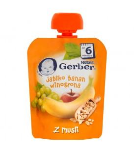 Gerber Deserek Jabłko banan winogrona z musli po 6 miesiącu 90 g